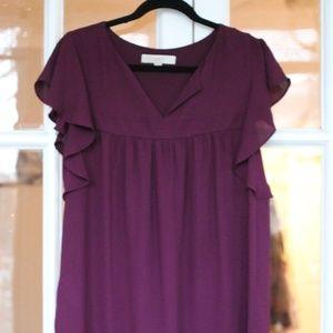 LOFT Purple flowy top - Size Med